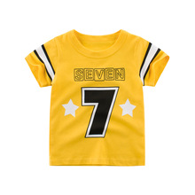 Baby Boy Summer Clothes 2-9T Letter 7 Cotton T Shirt Boy Fashion Active Boys Summer 2020 Tee Shirt Kids Tops Tee Boys Tshirts 2018 new fashion summer brand clothing homme kids t shirts funny streetwear tops tee shirt children tshirts boys clothes
