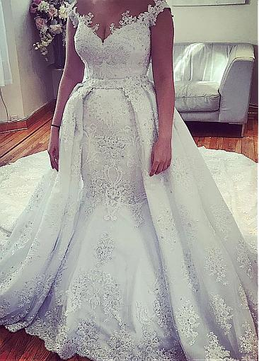 Robe De Mariee 2020 Mermaid Wedding Dresses Princess Wedding Gowns Noiva Bride Detachable Train Custom Make Plus Size Wedding