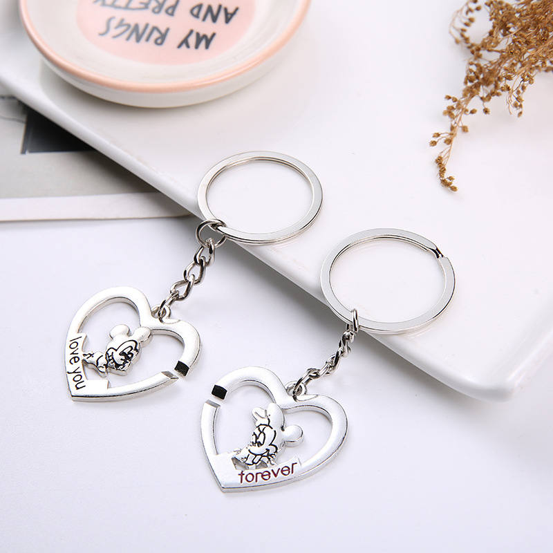Mickey Mouse Classic Keychain Minnie Cartoon Car Key Chain I Love You Keychain Cute Keychain Gifts for Men and Women Key Ring image