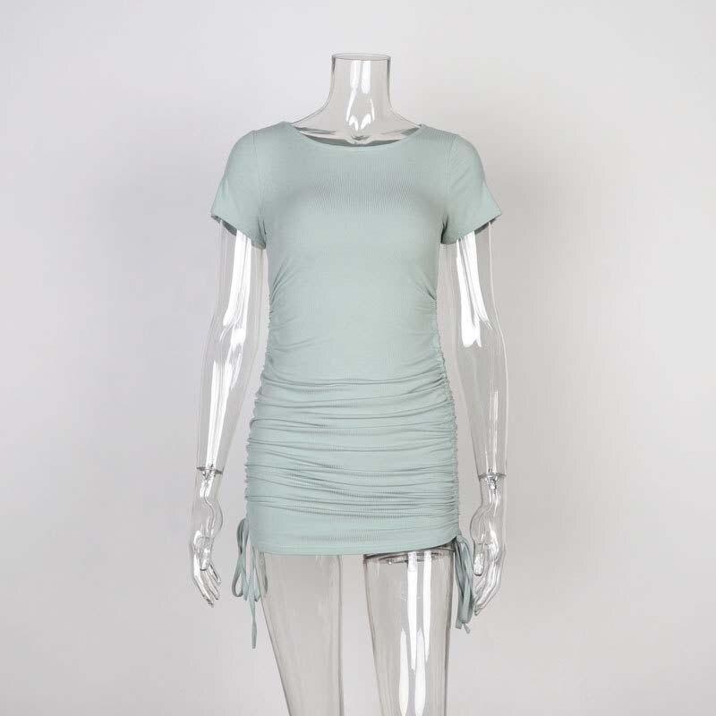 Ladies ribbed drawstring dress bodycon round neck short-sleeve sexy T-shirt dresses WL88 15