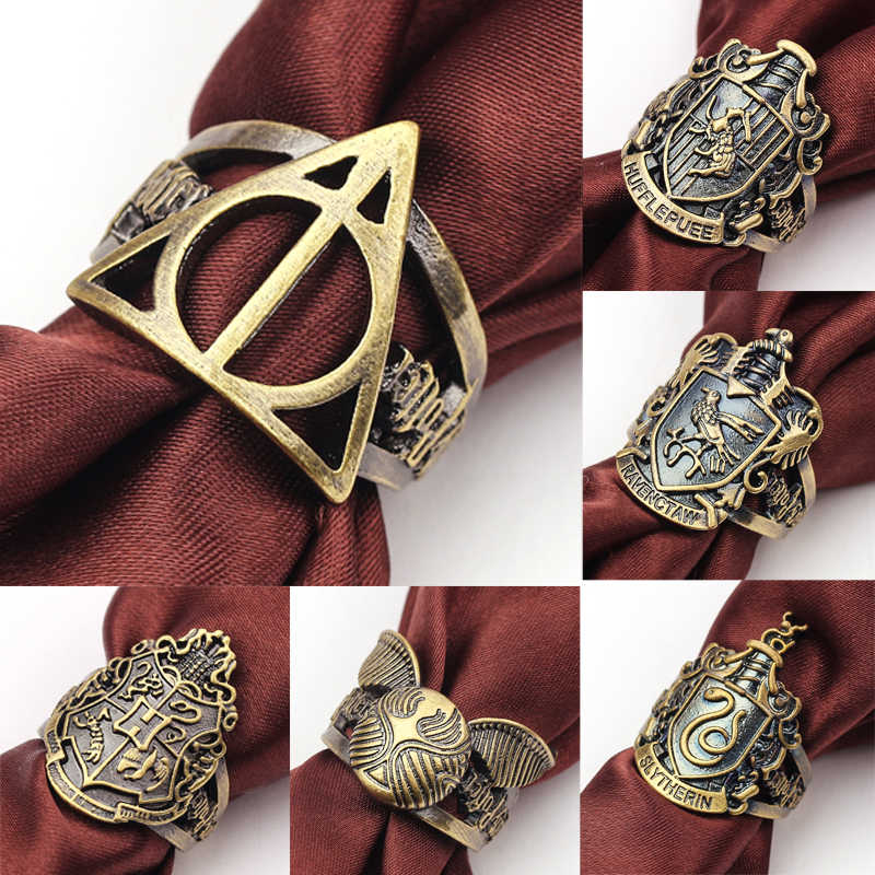 7 styles Hogwarts Magic School Gryffindor House Harry Ring Snitch Deathly Hallows Fashion Jewelry For Men Women Ring Vintage