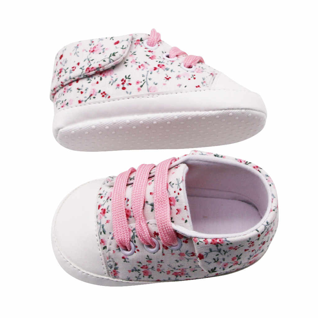 2019 New Newborn Baby Girls Flowers Printing Prewalker Soft Sole Anti-slip Tied Fashion Cute Toddler Single Shoes Hot Sale