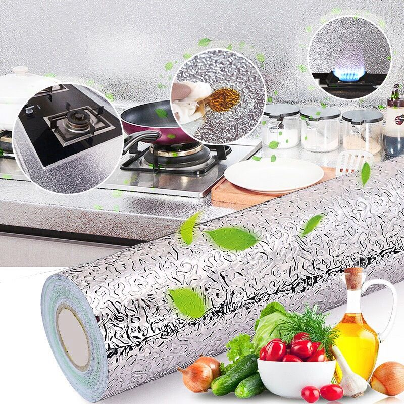 Aluminum Foil Oil-proof Wall Sticker Kitchen Stove Mural Decal Antifouling High-temperature DIY Self-adhesive Cropable Wallpaper