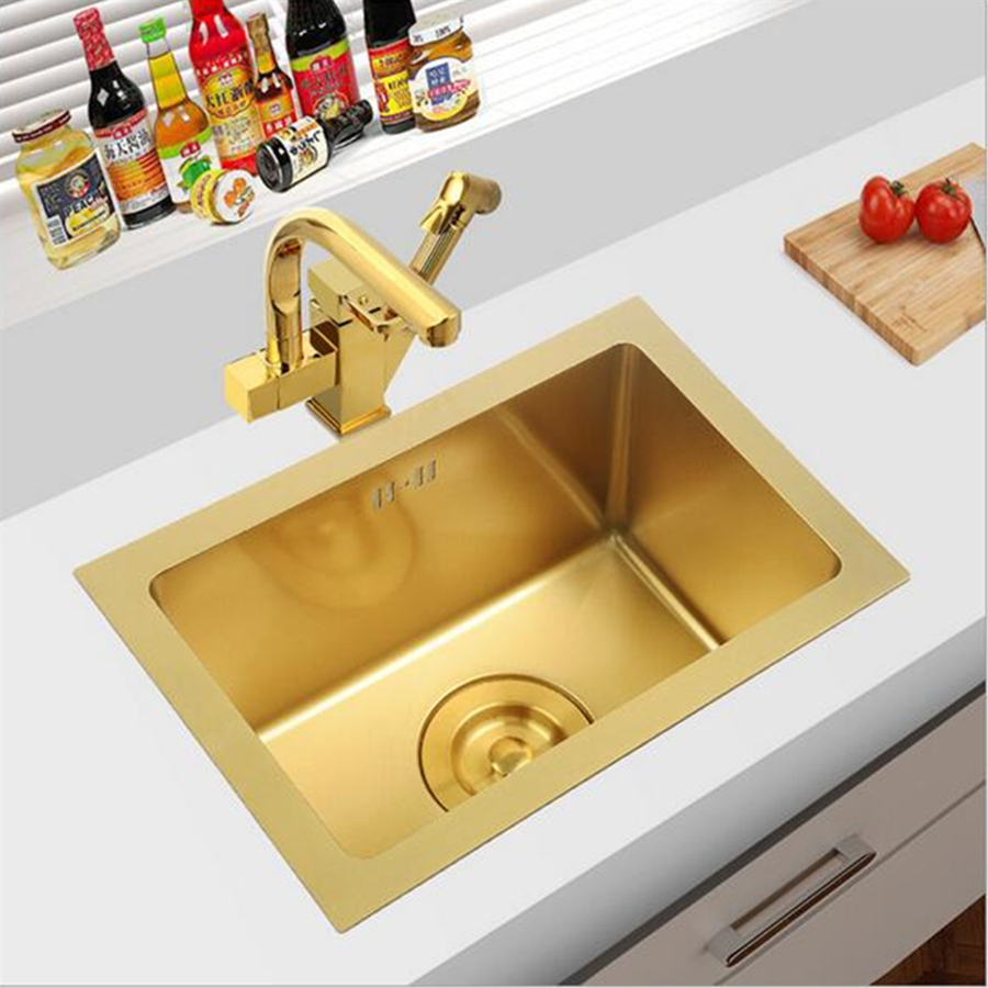 Brushed Gold Kitchen Sink Thick 4mm Single Bowl Above Counter Nano Coated Sink With Drain Basket Black Sink 304 Stainless Steel