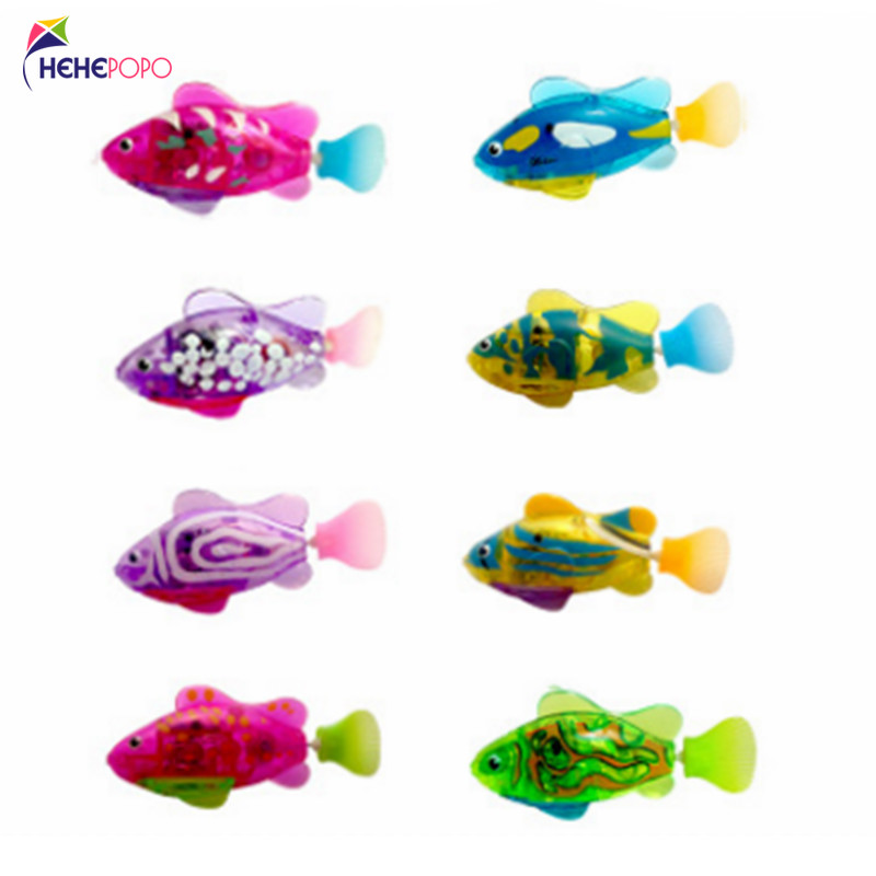 8 Pcs / Lot Flash Swimming Fish LED Electronic Fish Activated Toy Children Robot Pet Can Swim Bath Toy Children Gifts