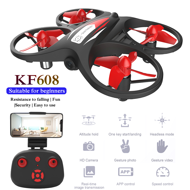 RC Quadcopter KF608 Mini Drone HD Wifi 720p Camera Helicopter 8 Mins Flight Time Altitude Hold Headless Mode 2.4G Beginners Toy