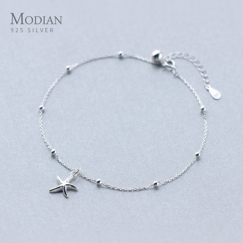 Modian Hot Sale Starfish Light Beads Anklet Chain For Women Real 925 Sterling Silver Leg Chain Link Fashion Fine Jewelry Gifts