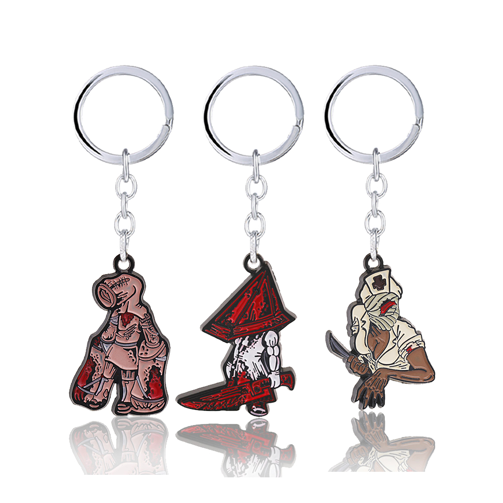 Hot Series Game Silent Hill 2 Keychain Red Pyramid Head Bubble Head Nurse Metal Pendant Lying Figure Keyring Enamel Men Jewelry