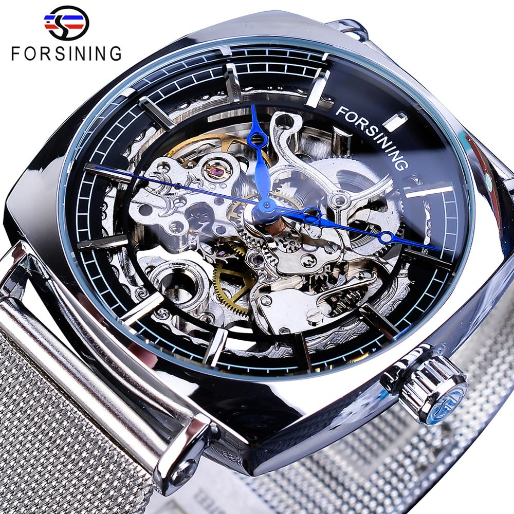 Forsining New Fashion Mechanical Watch For Men Square Automatic Skeleton Analog Silver Slim Mesh Steel Band Watch Relojes Hombre