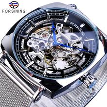 Forsining New Fashion Mechanical Watch For Men Square Automatic Skeleton Analog Silver Slim Mesh Steel Band Relojes Hombre