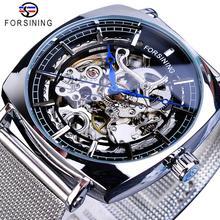 лучшая цена Forsining New Fashion Mechanical Watch For Men Square Automatic Skeleton Analog Silver Slim Mesh Steel Band Watch Relojes Hombre