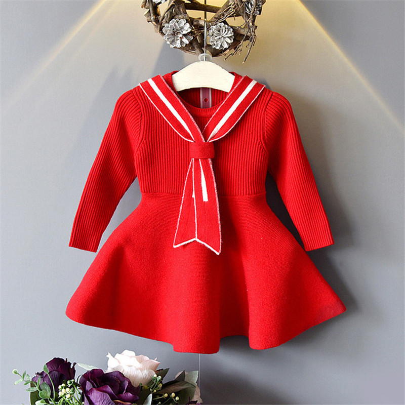 Baby Girl Autumn And Winter Knit Sweater Dress New Korean Children's Warm Sweater Dress Girl Casual Solid Color Dress