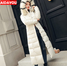Womens Long Parka Hooded Thickened Down Jacket With Pocket Maxi Oversized Winter Overcoat Outwear ouc580