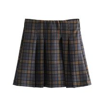 Women Plaid A Line Skirt for Retro Casual Basic Vintage High Waist Checkered Side Zipper Preppy Style Mini