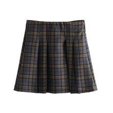 Women Plaid A Line Skirt for Women Retro Casual Basic Vintage High Waist Skirt Checkered Side Zipper Preppy Style Mini Skirt