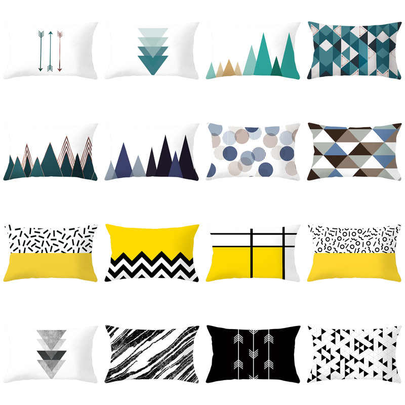 30X50CM Bule Geometric Cushion Cover Polyester Modern Nordic Black Yellow White Decorative Pillows Case Sofa Throw Pillows Cover
