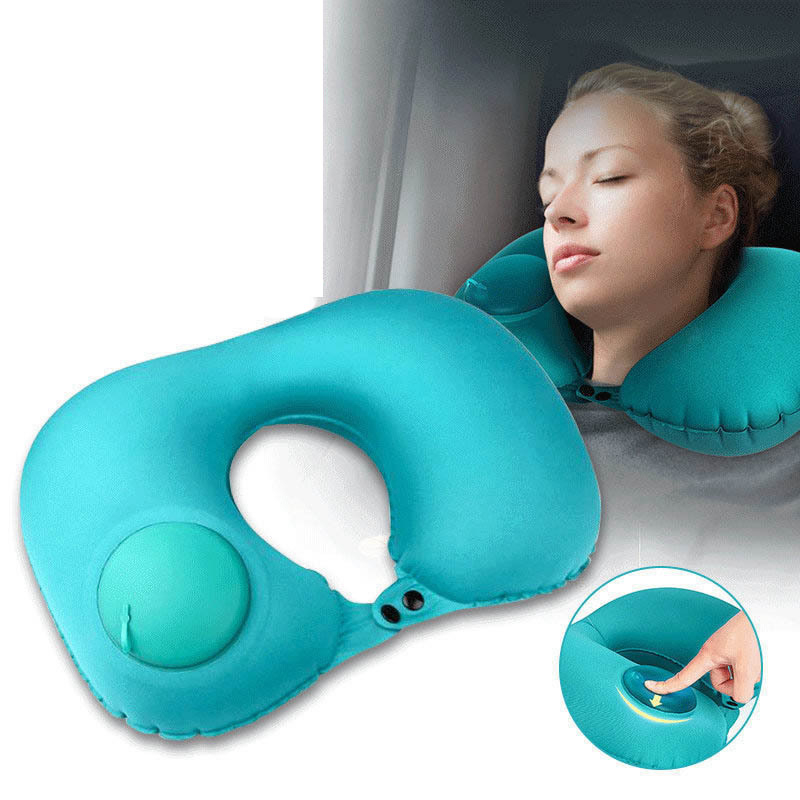 Fashion U-Shaped Pillow Portable Travel Accessories Press Type Inflatable Storage Bag Package Suitcase Holder Parts Women Pillow