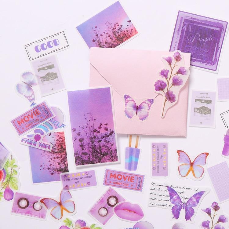 40Pcs/Set Vintage Purple Flower Label Sticker DIY Craft Scrapbooking Album Junk Journal Happy Planner Decorative Stickers