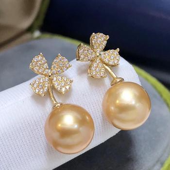 Fine Jewelry 1103 Pure 18 K Gold Natural Ocean Golden Pearls 8-9mm Stud Earrings for Women Fine Pearl Earrings 4