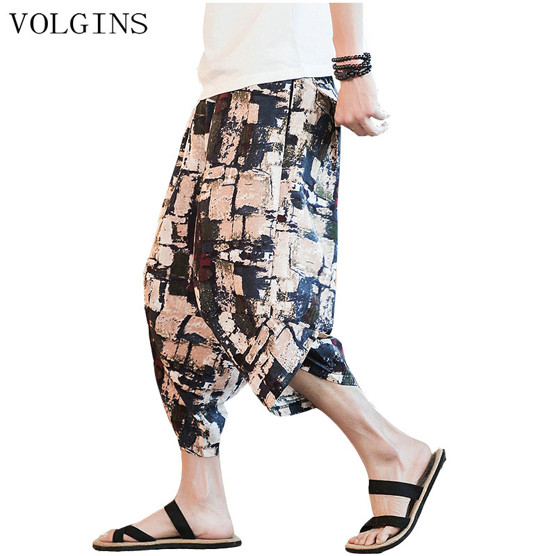 Streetwear Mens 2020 New Beach Pants Male Summer Casual Calf-Length Pants Man Chinese Style Baggy Loose Trousers Drawstring
