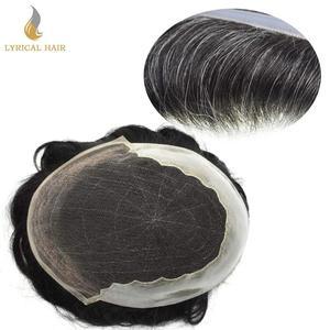Французские кружевные передние мужские накладные волосы, поликожа, искусственная кожа, сменные мягкие волосы, отбеленные узлы, натуральные...