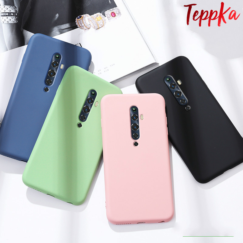 TeppKa For <font><b>OPPO</b></font> Reno Ace 2Z 2F 2 Phone <font><b>Case</b></font> <font><b>Liquid</b></font> Silicone Solid color Soft silicone Back Protective <font><b>Cover</b></font> Shockproof funda image