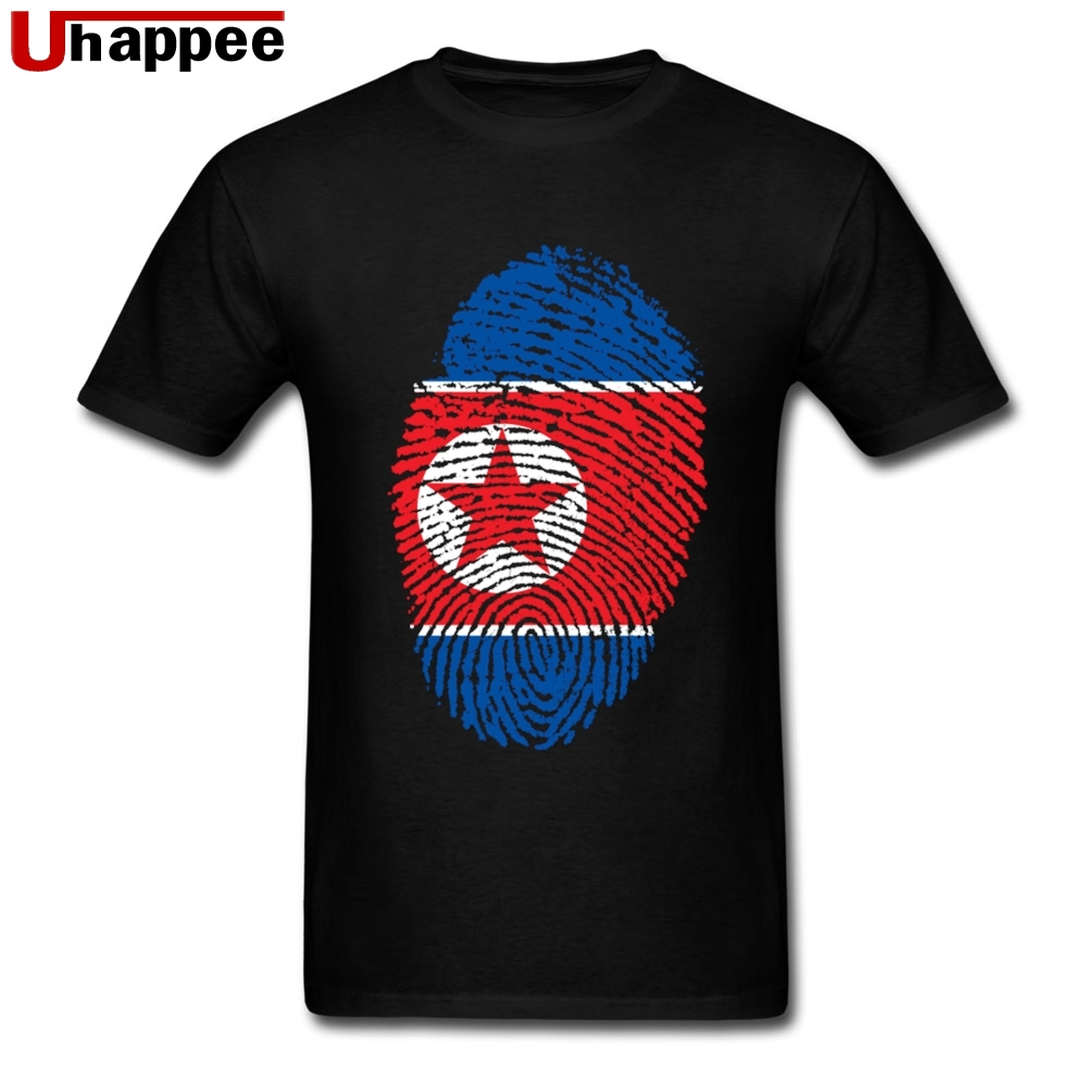 Tees Shirt DPRK North Korea Flag Fingerprint Adult Father's Day Gifts Shirt Men's Short Sleeved Cheap Brand Official Apparel image