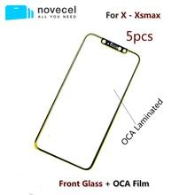 5 ชิ้น/ล็อต Novecel A + คุณภาพสูงด้านหน้ากระจกเลนส์ด้านนอกมี OCA สำหรับ iPhone X XR XS MAX อะไหล่ซ่อม