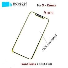 5 sztuk/partia Novecel A + jakości przedni ekran zewnętrzny szklany obiektyw z OCA zamiennik dla iPhone X XR XS Max naprawy części