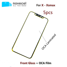 5pcs/Lot Novecel A+ Quality Front Screen Outer Glass Lens With OCA Replacement for iPhone X XR XS Max Repair Parts