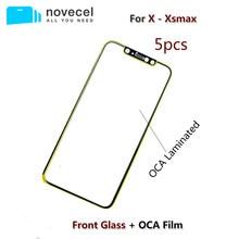5 unids/lote Novecel calidad A + pantalla frontal exterior lente de cristal con OCA de reemplazo para iPhone X XR XS Max piezas de reparación