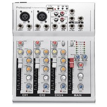 4 Channels Live Dj Audio Mixer Sound Mixing Console with Usb Mp3 Jack for Karaoke Ktv Music Show Party with Bluetooth Eu Plug(China)