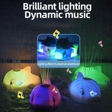 Baby Bath Toys Spray Water Swim Pool Bathing Toys for Kids Shark baby Bath Ball with Light Music LED Light Toys HP801