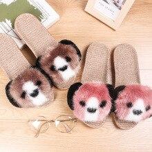 2019 New Women Fur Slides Winter Fluffy Home Slippers Warm Indoor Flat Shoes Breathable Soft Bottom linen Slippers Plush Shoes цена в Москве и Питере