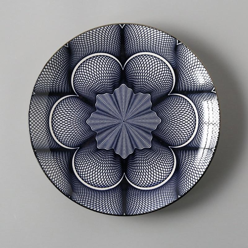 Креативный японский стиль 8 керамическая тарелка дюймовая посуда для завтрака говядины десертное блюдо для закусок простое мелкое блюдо домашнее блюдо для стейков - Цвет: 5
