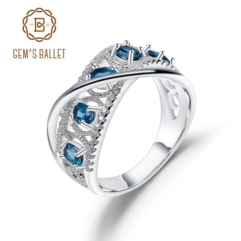GEM'S BALLET 1.05Ct Natural London Blue Topaz Gemstone Rings 925 Sterling Silver Band Finger Ring For Women Wedding Fine Jewelry