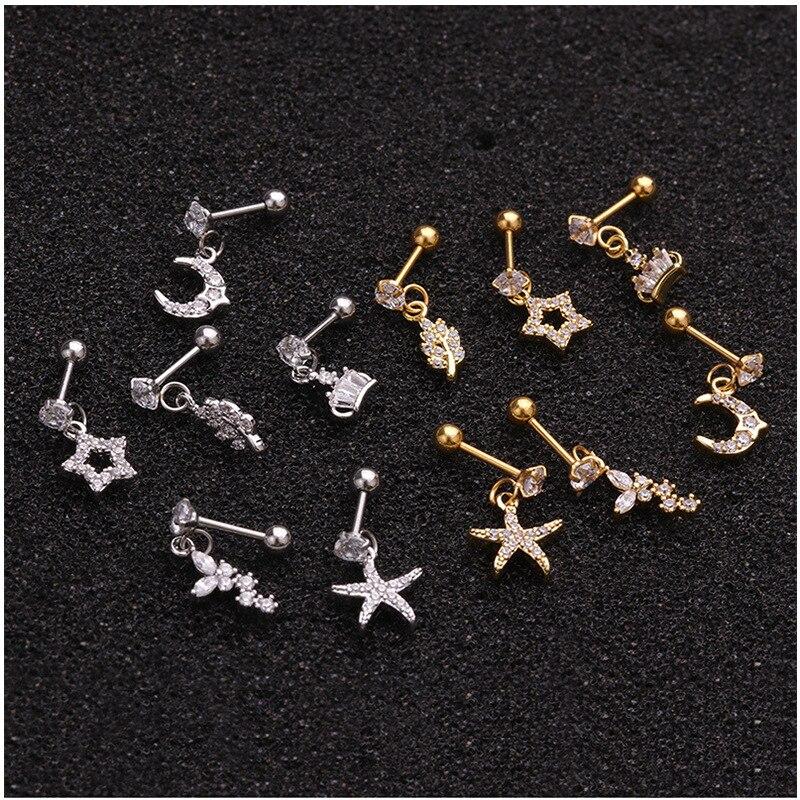 One Piece Star Moon Crown Starfish Piercing Earrings for Woman 2020 Fashion Jerwelry Earrings Studs