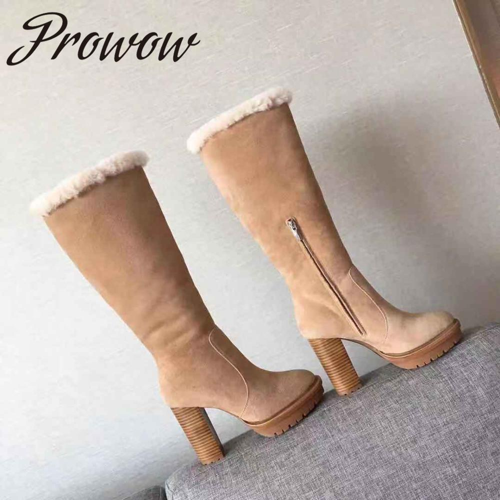 Prowow New Black Beige Genuine Leather Sheep Wood Knee HIgh Boots Sexy Platform Thick Heel HIgh Heel Winter Warm Boots Shoes
