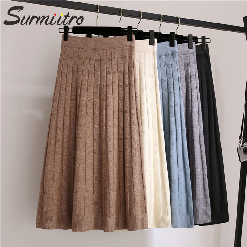 SURMIITRO Warm Knitted Midi Skirt Women For Autumn Winter 2019 Koreaan Ladies High Waist A Line Pleated Long Skirt Female