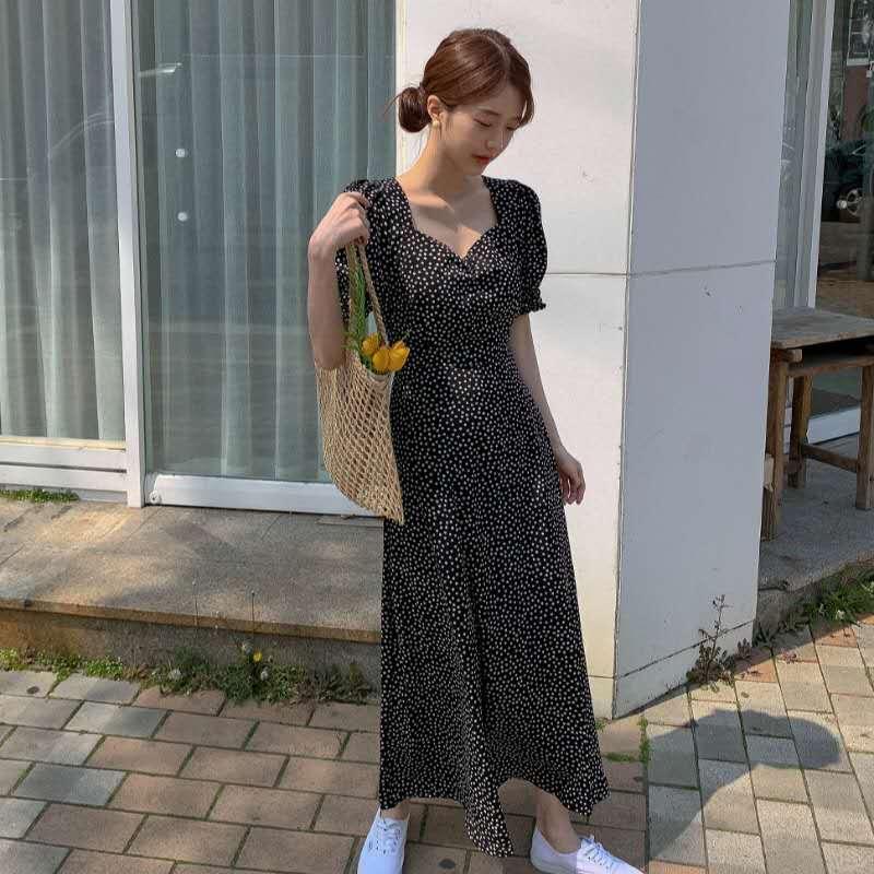 Женское платье большого размера, корейская мода, новая одежда, винтажное платье с квадратным воротником на шнуровке, приталенное платье с п...