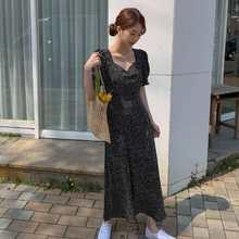 Vestido feminino plus size coreano moda novas roupas vintage gola quadrada rendas até vestidos de manga de lanterna de impressão ajuste fino vestidos