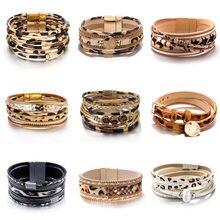 Amorcome с леопардовым принтом модные браслеты женские 2020
