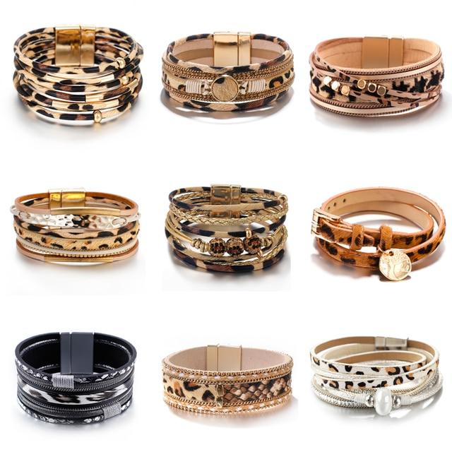Amorcome Leopard Fashion Bracelets woman 2020 Charm Multilayer Wide Wrap Leather Bracelets & Bangles Femme Party Jewelry Gift