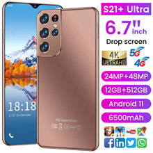 2021 Global Version S21+ Ultra Cellphone 6.7inch HD+Water 12G 512G Mobile Phone Drop Screen4G/5G Internet Smartphones