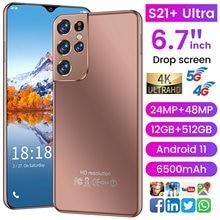 Teléfono Inteligente S21 + Ultra versión Global, 2021 pulgadas, HD + agua, 12G, 6,7G, pantalla gota, 4G/5G, Internet, 512