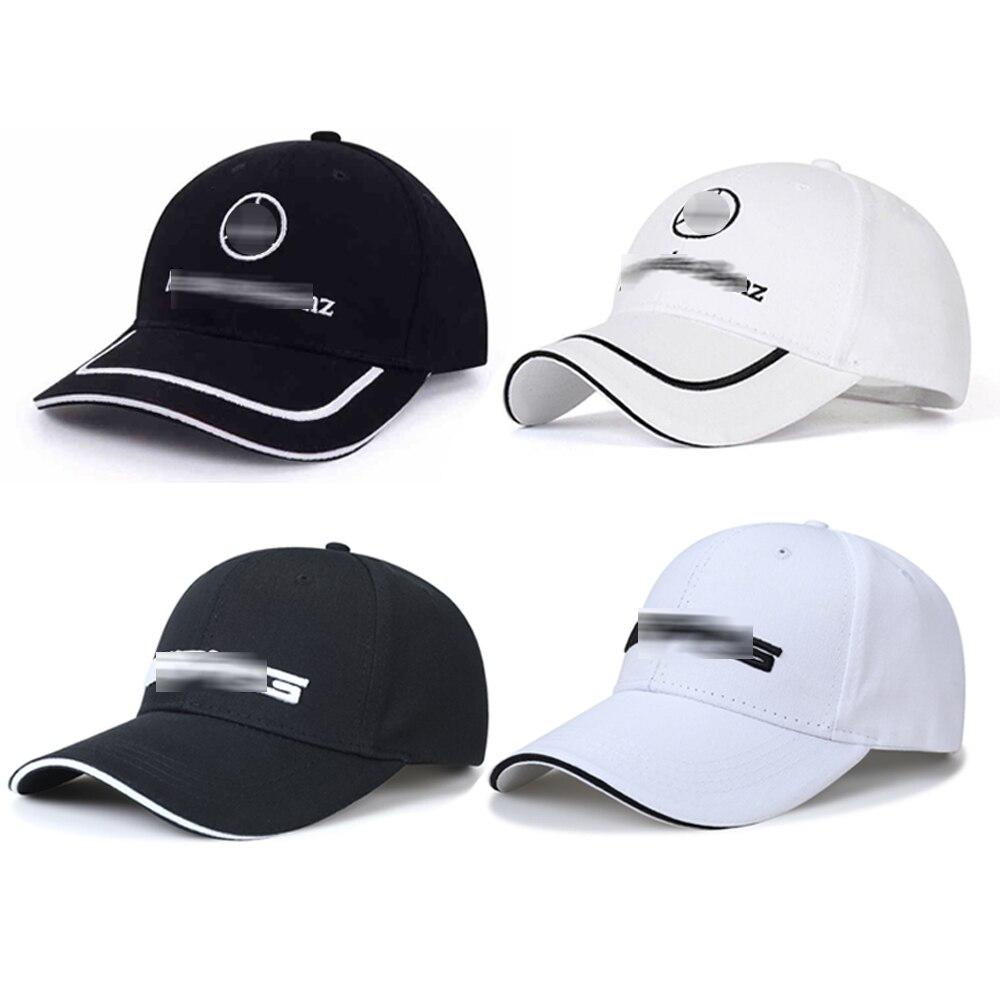 Auto berretto da baseball del cappello logo cappelli di sport all'aperto chapeau degli uomini del ricamo emblem per Mercedes AMG Ha Raggiunto Il Picco berretto copricapo Nero Bianco