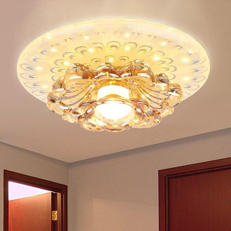 Хрустальный прожектор Холл коридор огни двери входные огни Светодиодный кольцевая лампа Потолочный трубки освещение коридоров потолочный