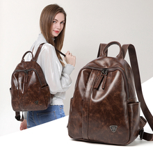 Oil Wax  Leather Women Backpack 2019 new anti-theft double shoulder bag women's large capacity Soft Leather Travel Backpack