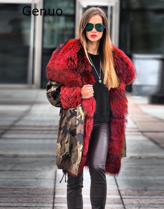 Véritable nouveau manteaux femmes fourrure floue Camouflage sweat à capuche chaud hiver veste coupe-vent Outwear épais mode nouveau manteau femmes 2020 - 4