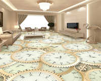 beibehang Customized fashion personality decorative painting silky PVC self-adhesive clock floor painting wall papers home decor